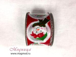 Лента декоративная с рисунком дед мороз