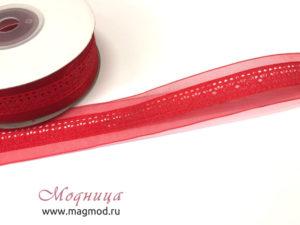 Лента декоративная фурнитура красный цвет