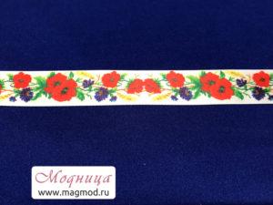 Лента атласная с рисунком цветы