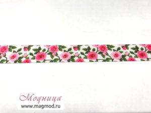 Лента репсовая с рисунком розы