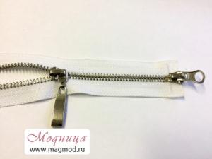 Молния металлическая никель тип5 2 бегунка широкая цветовая гамма
