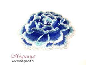 Термоаппликация Роза синий цвет декор