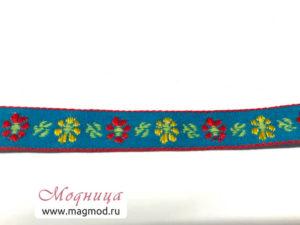 Тесьма жаккардовая голубой цвет цветы декор