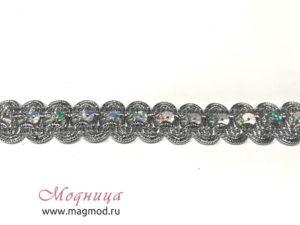 Тесьма металлизированная с пайетками декор стиль модница екатеринбург