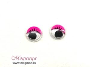 Глазки круглые бегающие с ресницами декор игрушки фурнитура творчество