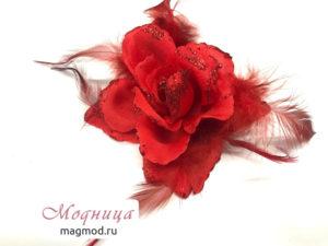 Цветок на булавке декор рукоделие модница