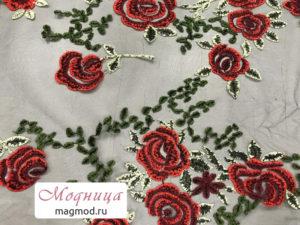 Сетка с вышивкой ткани фурнитура модница екатеринбург